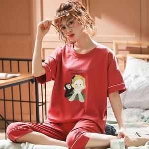 Image 4 - נשים של סט פיג מה קיץ בתוספת גודל לסרוג כותנה Nightwear נקבה גדול גודל 5XL קצר שרוול הלבשת סט וhomewear פיג מה