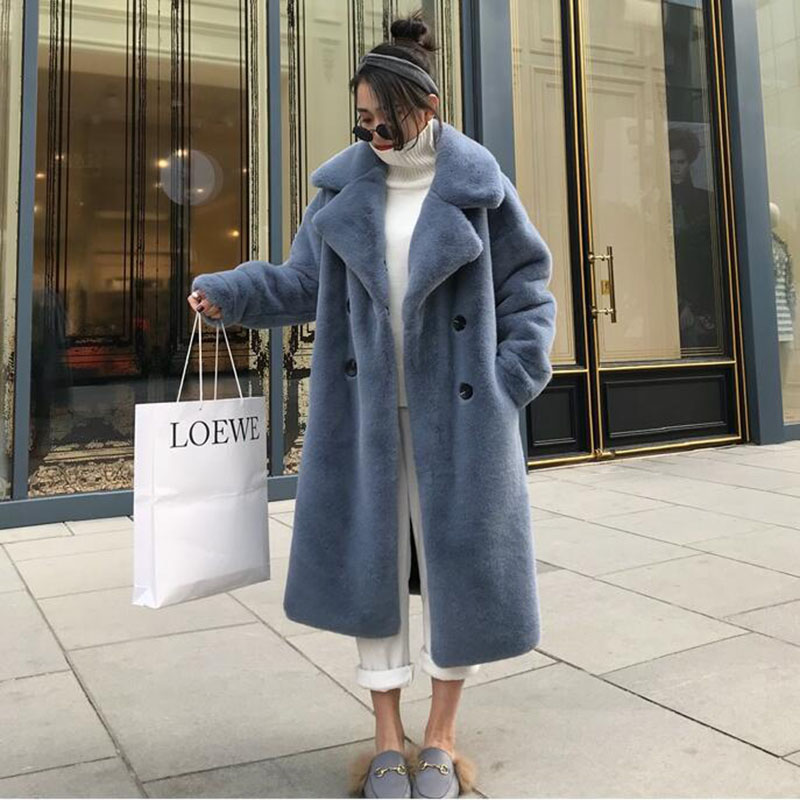 2019 Winter X-long Women <font><b>Faux</b></font> Rabbit <font><b>Fur</b></font> <font><b>Coat</b></font> Fluffy Furry Female <font><b>Mink</b></font> <font><b>Fur</b></font> Jacket Women image