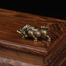 Pure Brass Bull Miniature Figurines Vintage Animal Ornament Lucky Desk Decoration Accessory Zodiac Cattle Pendant for
