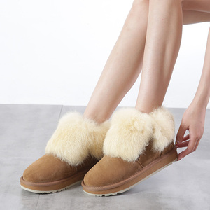 Image 2 - INOE Fashion Cow Suede Leather Real Rabbit Fur Woman Casual Winter Ankle Snow Boots for Women Short Winter Shoes Zipper Style