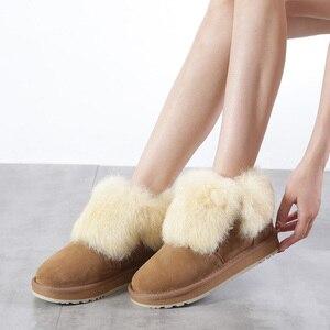Image 2 - INOE Fashion skóra zamszowa prawdziwe futro z królika kobieta dorywczo zimowe kostki zimowe dla kobiet krótkie zimowe buty na zamek błyskawiczny w stylu