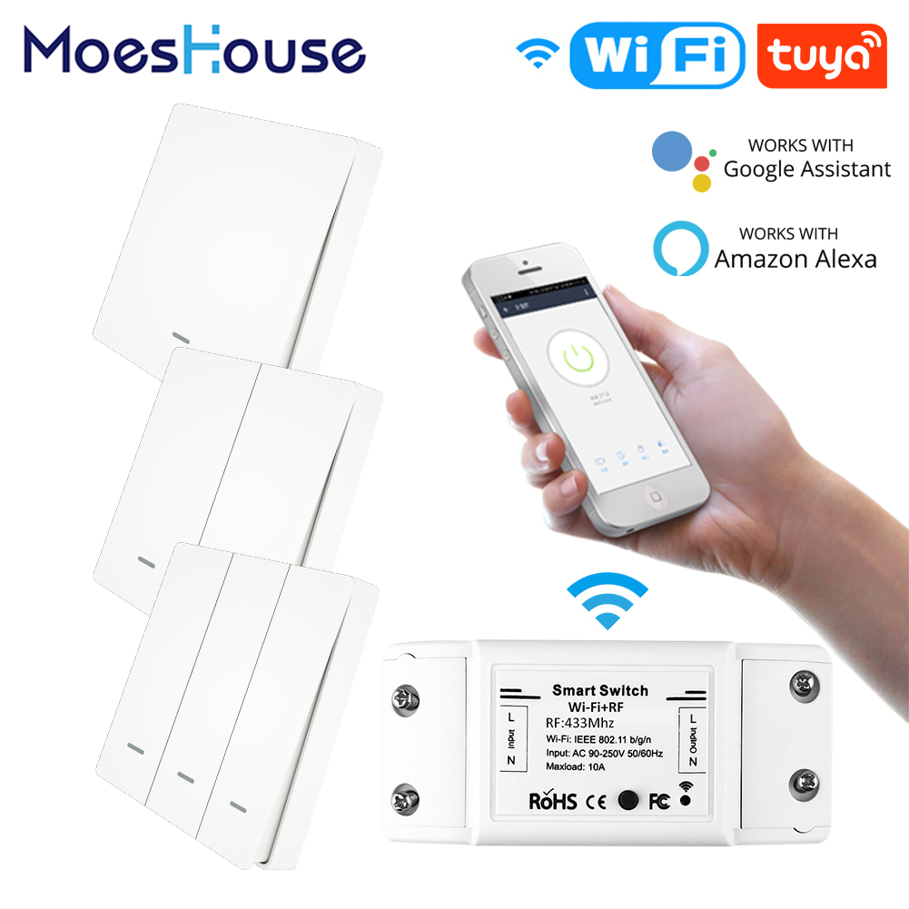 RF433 WiFi Wireless Remote Control Smart Switch Wall Panel Transmitter Smart Life/Tuya APP Works With Alexa Google Home