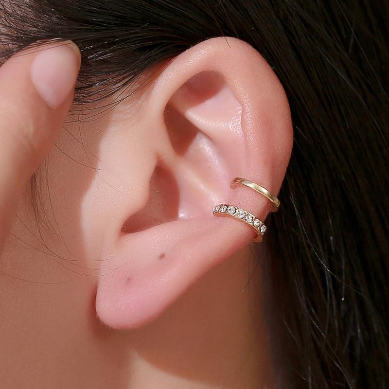 Luxus Kristall Ohr Clip Mode Doppel C Geformt Ohr Manschette Wrap Ohrringe für Frauen Metall Aussage Ohrringe Mode Schmuck