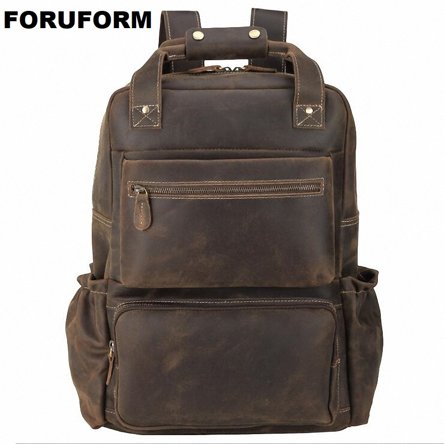 Genuine Leather Business Men Backpack Double Zipper Cowhide Backpacks Brief Case Travel Office Shoulder Bags Purse Leather