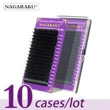 NAGARAKU 10 estuches/lote extensión de pestañas premium pestañas de visón falso pestañas individuales, pestañas postizas suaves y naturales maquillaje