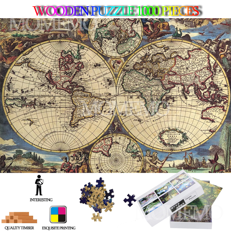 Ancient World Map 1000 Pieces Puzzle Wooden Jigsaw Puzzle Toys For Adults High Definition DIY Wooden Puzzles Kids Nice Toys Gift