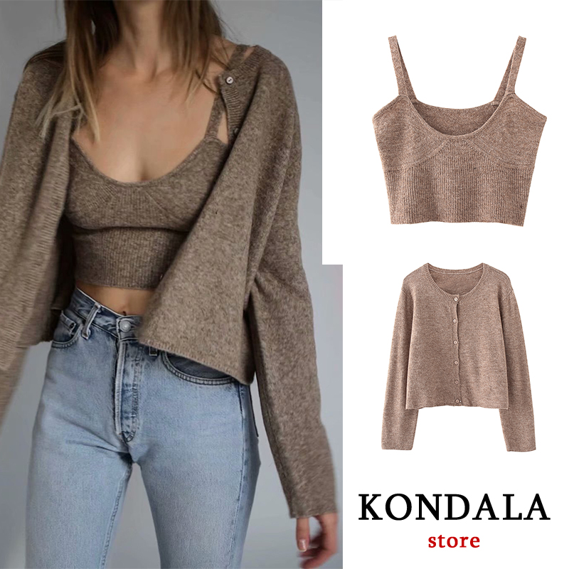 KONDALA 2020 Spring New Women's Solid Khaki Cardigan Knitted Sweater Vintage Two Pieces  Fashion Streetwear Sexy Female Tops