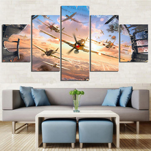Home Decoration Canvas Prints Poster Wall Art Painting Living Room Minimalism 5 Piece Aircraft Game Pictures Framework