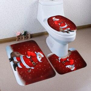 Image 2 - 크리스마스 목욕 매트 WC 변기 커버 화장실 매트 화장실 타파 Inodoro 장식 크리스마스 욕실 화장실 변기