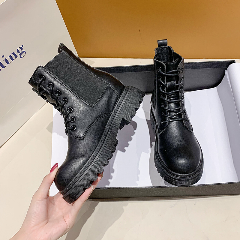 2020 Autumn  Winter Women White Combat Boots Fashion Platform Gothic Shoes Black Leather Motorcycle Boots Women  Ankle Boots