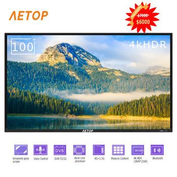 Darmowa wysyłka-gorąca sprzedaż przeciwwybuchowy płaski telewizor 100 cala ultra hd led android telewizja 4k tv smart z DVB-S2 T2 tanie i dobre opinie NoEnName_Null 16 9 DVB-T2 SECAM NTSC 4 K (3840*2160) Kabel zasilający instrukcja obsługi STAND Kabel HDMI Oprawa ścienna