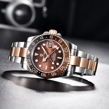 PAGANI DESIGN GMT 40mm Mechanical Wristwatch Men's Top Brand Stainless Steel Sports Waterproof Automatic Watch Relogio Masculino 1