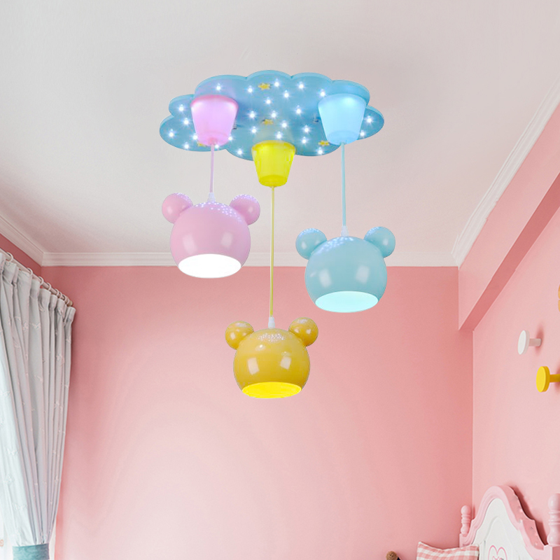 Children Chandelier Bear Cartoon Personality Bear Baby Children'S Bedroom Chandelier Boy Girl Music Creative Chandelier E27|Pendant Lights| |  - title=