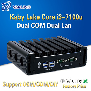 Yanling Small industrial pc intel kaby lake core i3 7100u dual lan desktop mini computers embedded SIM slot support 3g 4g module