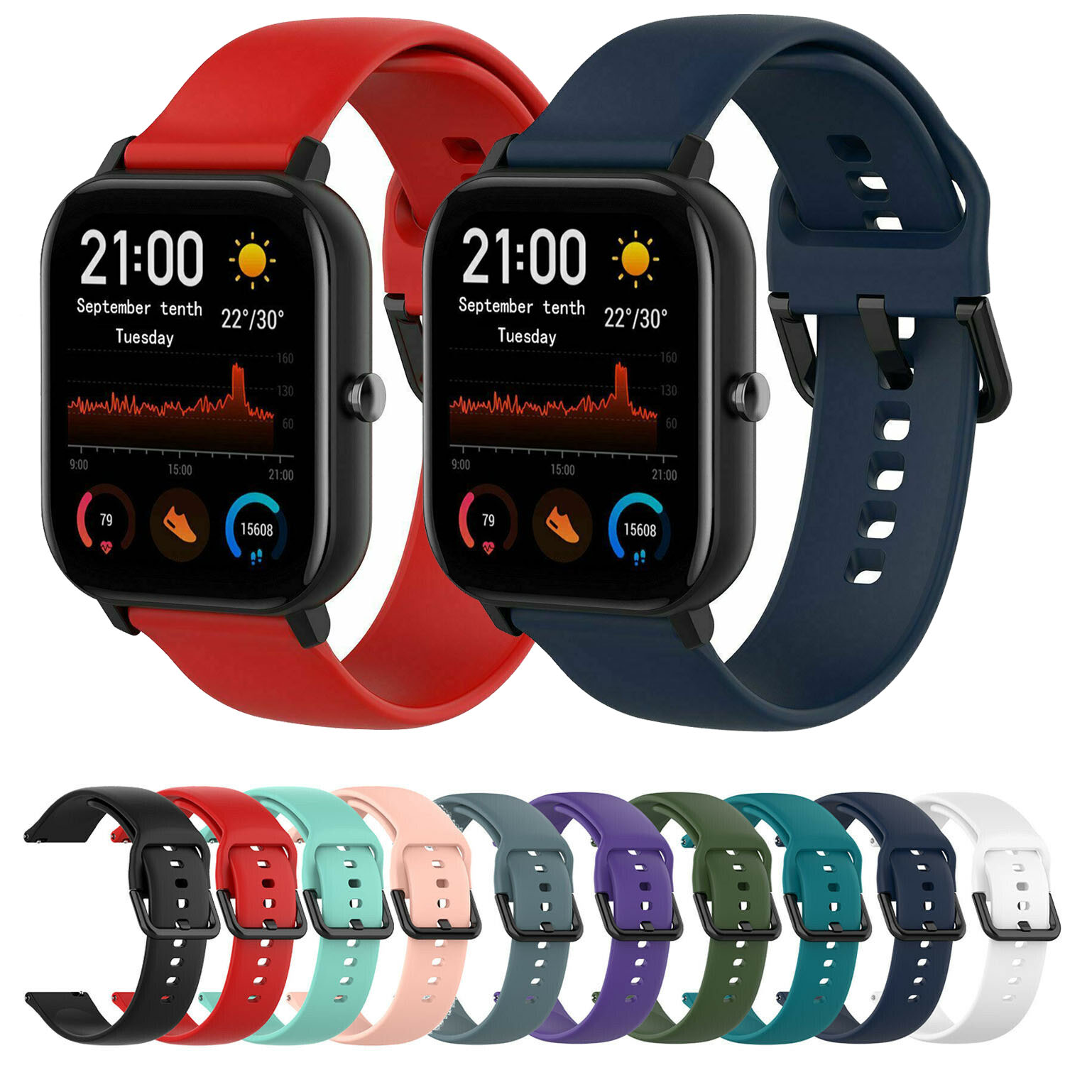 <font><b>20MM</b></font> Silicone Sport <font><b>Watch</b></font> Band For Samsung Galaxy <font><b>Watch</b></font> Active <font><b>Strap</b></font> Galaxy <font><b>Watch</b></font> 42mm Rubber Watchband For Amazfit BIP <font><b>GTS</b></font> Band image