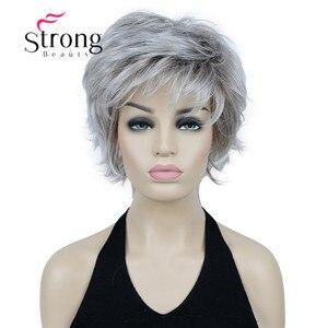 StrongBeauty короткий флип-ап светлый смешанный Полный Серебристый Серый синтетический парик выбор цвета