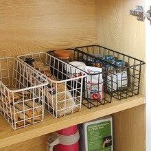 Kitchen Spice Rack Wrought Iron Storage Shelf Kitchen Seasoning Storage Basket Bathroom Rectangular Box Storage Wall Hanging