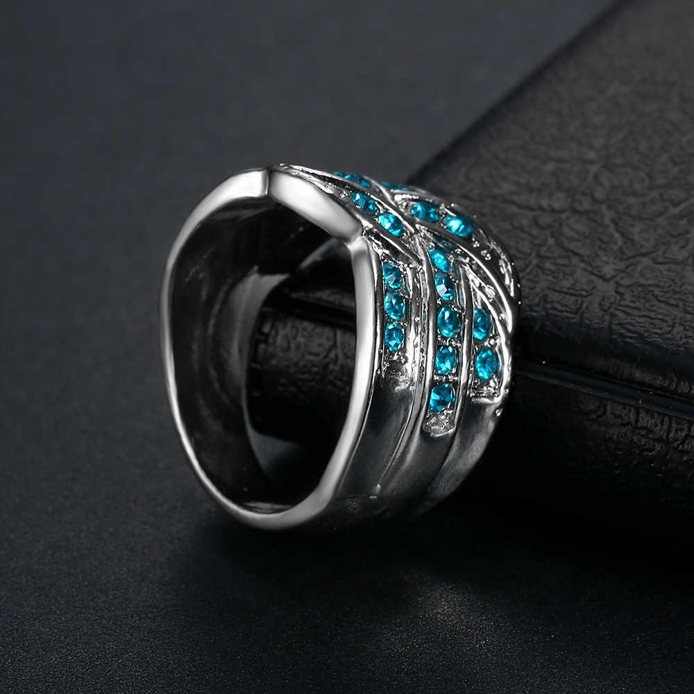 Shengmei ขายดีที่สุดทั้งหมด-สีฟ้าคริสตัลขนาดใหญ่ผู้หญิงแหวน Studded Zircon เครื่องประดับ