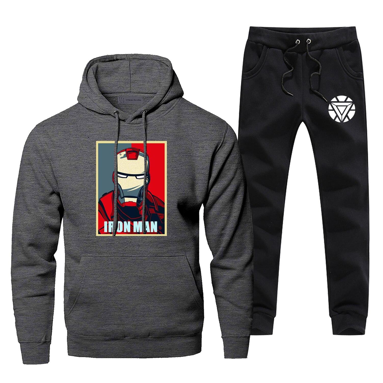 Tony Stark Iron Man Men Hoodies Sweatshirts Pants Sets Hooded Hoodie Suit 2 PCS Hoody Pant Sweatshirt Superhero Pullover Set