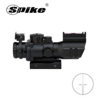 Spike 4*32 PRISM 4 Times Mirror Plated Green Film Fiber Aiming down Adjustable Sight Optical