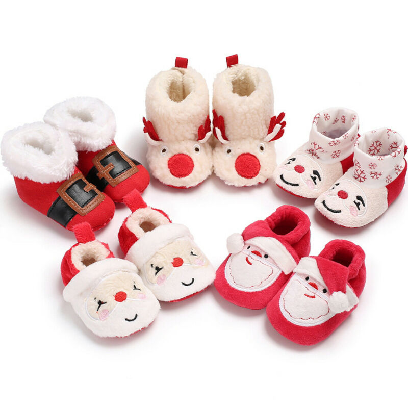 2019 Baby Snow Boots Cute Newborn Baby Boy Girl Christmas Cartoon Boots Slippers Winter Warm Baby Casual Boots Shoes 0-18M