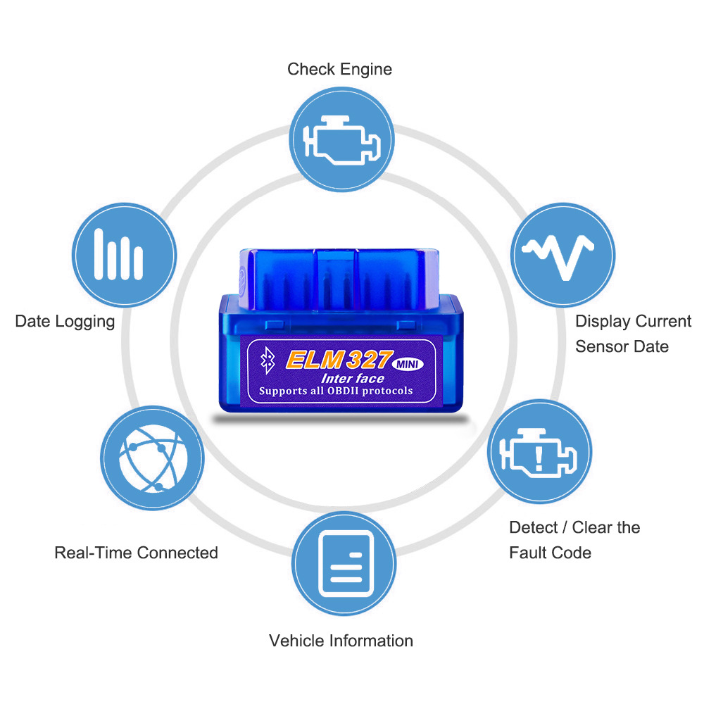 Blau OBD2 Scanner für Kia Peugeot Ford Hyundai VW Audi BMW V2.1 ELM327 Interface Bluetooth OBDII Scanner Auto Diagnose-Tools