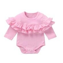 Милые однотонные комбинезоны ярких цветов с длинными рукавами и принтом для маленьких девочек и мальчиков; комбинезон; Одежда для новорожденных