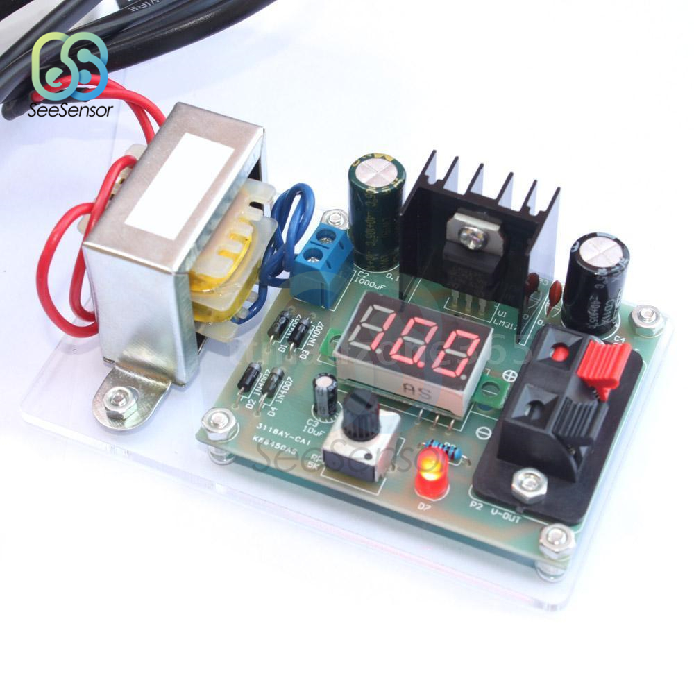 LM317 Adjustable AC to DC Regulated Voltage <font><b>220V</b></font> 110V to <font><b>12V</b></font> Step Down <font><b>Power</b></font> <font><b>Supply</b></font> <font><b>Module</b></font> Transformer Voltage Converter DIY Kit image