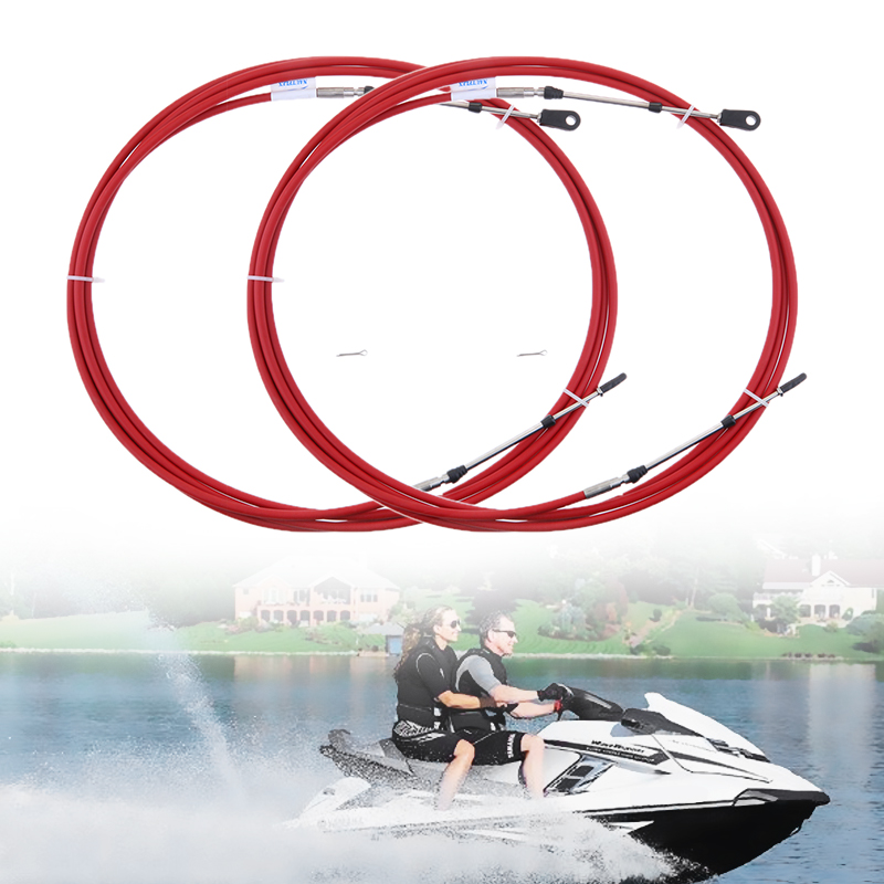2Pcs Universal 8Ft Throttle Shift Control Cable For Yamaha Outboard Boat Motor 10-32UNF Threaded Connectors Red Dropshipping