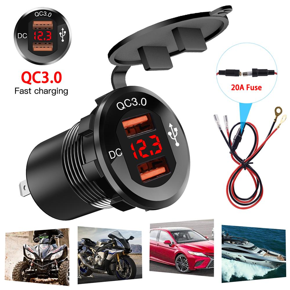 USB 30W QC 3.0 Fast Charging Motor Power Adapter With Switch Waterproof LED Voltmeter DC12V-24V Car Charger