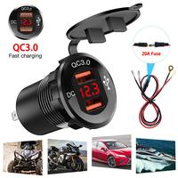 USB 30W QC 3.0 Fast Charging Motor Power Adapter with Switch Waterproof LED Voltmeter DC12V 24V Car charger|Motorcycle Electronics Accessories| |  -