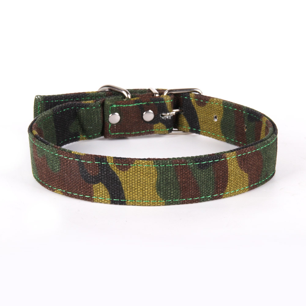 Camouflage Canvas Woods Training Camouflage Strong Pet Dog Collar Suitable Medium-sized Dog And Large Dogs M L X L