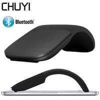 CHUYI ratón silencioso inalámbrico Bluetooth arco táctil rodillo plegable láser Mause circular Fio ratones ópticos ultrafinos para Microsoft Laptop