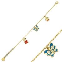 14K (585) Gold Enamel Unisex Child Bracelet