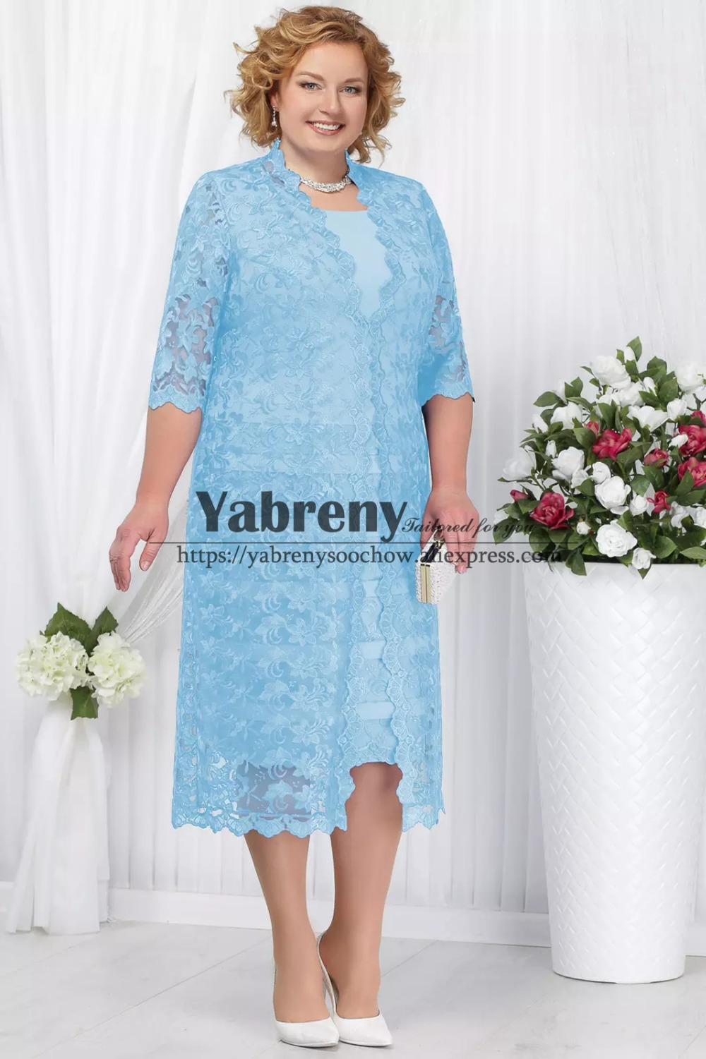 Plus size Mother of the bride dress with lace coat Sky blue Mid-Calf Women outfit