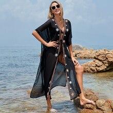 Beach Sarong Dress Cardigan Bikini cover-Up Embroidered Women Swimsuit Black Kaftan Sexy