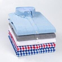 New Casual Shirt Men Slim Fit 60% Cotton Oxford Plaid Men Top Shirts Blouse Regular Long Sleeve Men's Smart Business Dress Shirt