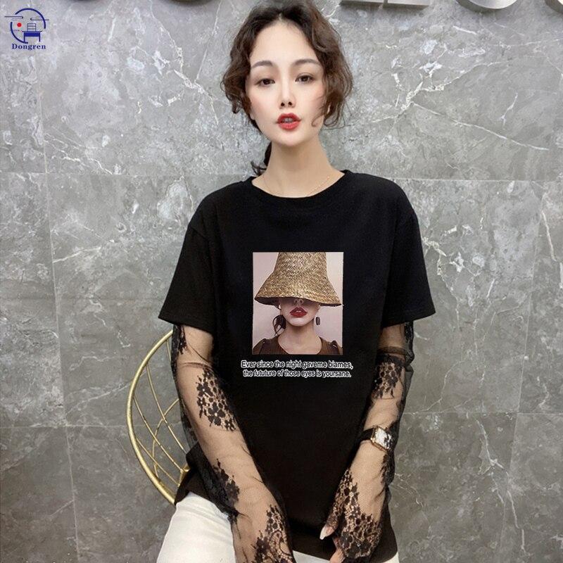Женские футболки, женская модная одежда, футболка с графическим принтом, женская футболка с коротким рукавом и кружевной строчкой