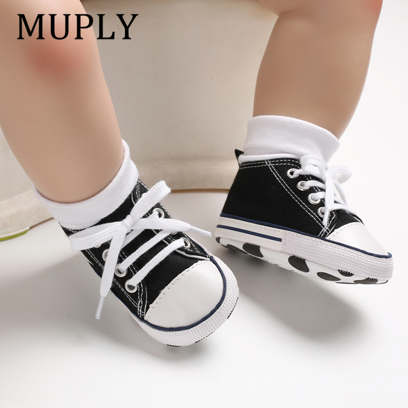 Baby Canvas Classic Sports Sneakers Newborn Baby Boys Girls Print Star First Walkers Shoes Infant Toddler Anti-slip Baby Shoes 3