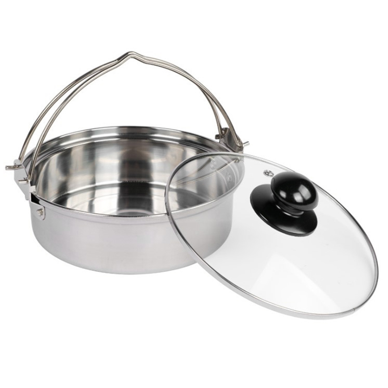Ramen-Pot Picnic Outdoor Camping with Glass-Lid Utensils Cooking for Double-Handle-Pot