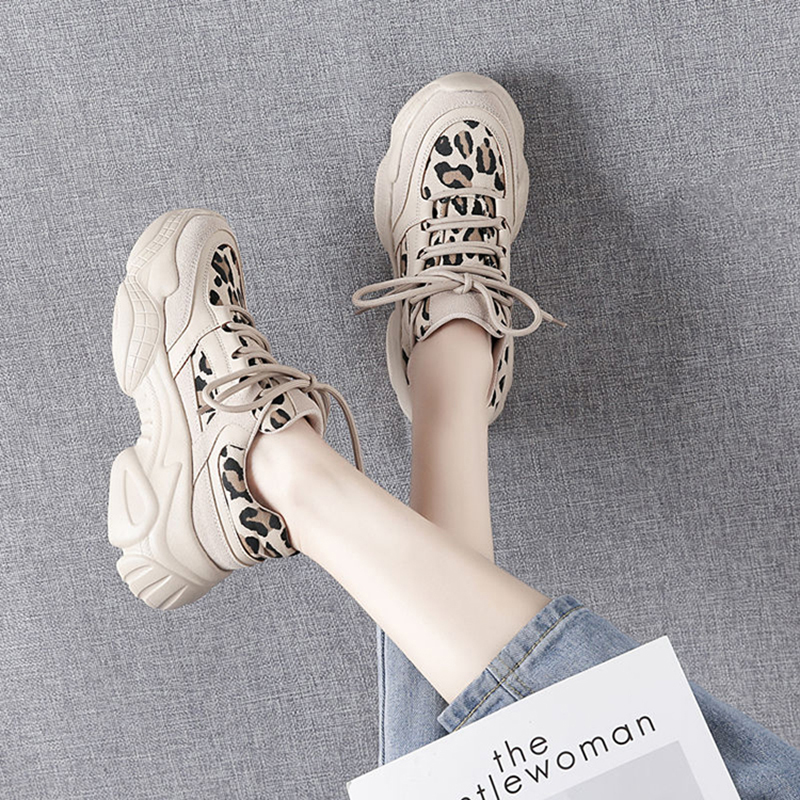 Women Leopard Thick Bottom Mesh Breathable Ultralight Sneakers For Women Student Platform Vulcanize Casual Sports Shoes New 2
