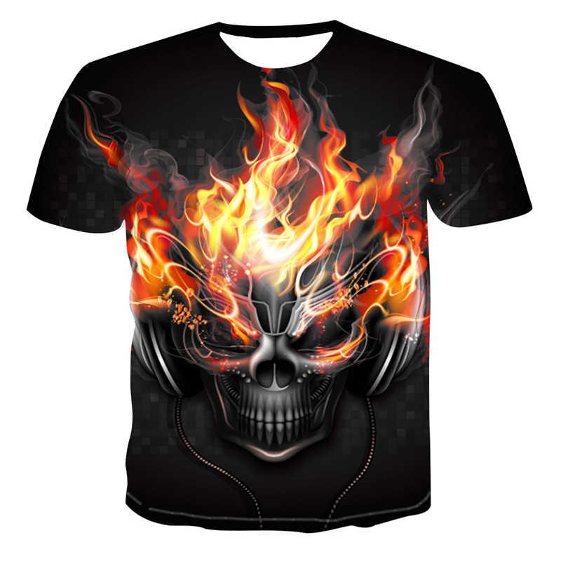 Mannen 3D Gedrukt Schedel Serie Casual T-Shirt Mannen En Vrouwen Liefhebbers Mode Wilde koele Korte Mouwen Fashion t-shirt Tops