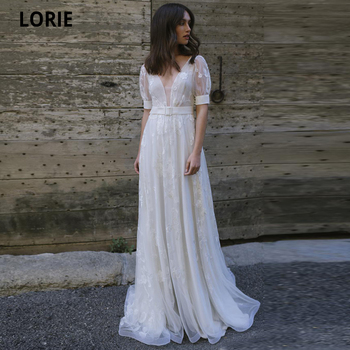 LORIE Short Sleeve Beach Boho Lace Wedding Dresses Appliques V-neck Bridal Gown Plus Size Vintage Backless Princess Wedding Gown lorie champagne tulle wedding dresses beach boho lace appliques bridal gown o neck illusion short sleeve vintage wedding gowns