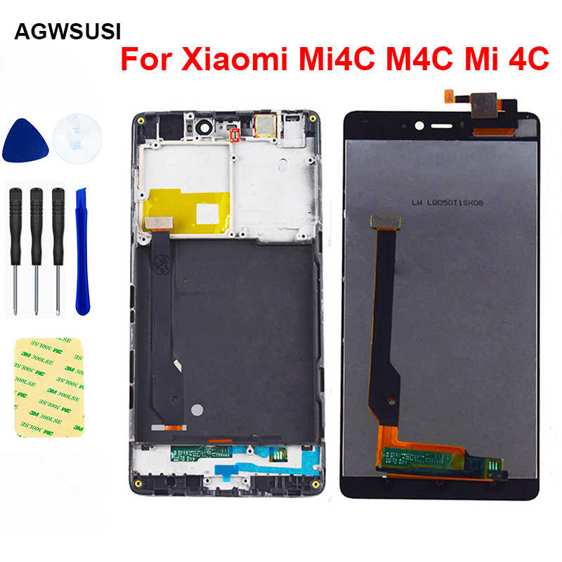"""5 """"Xiaomi Mi4c LCD ekran Mi 4C Mi 4C LCD ekran dokunmatik ekran LCD sayısallaştırıcı sensörü cam meclisi çerçeve değiştirme"""