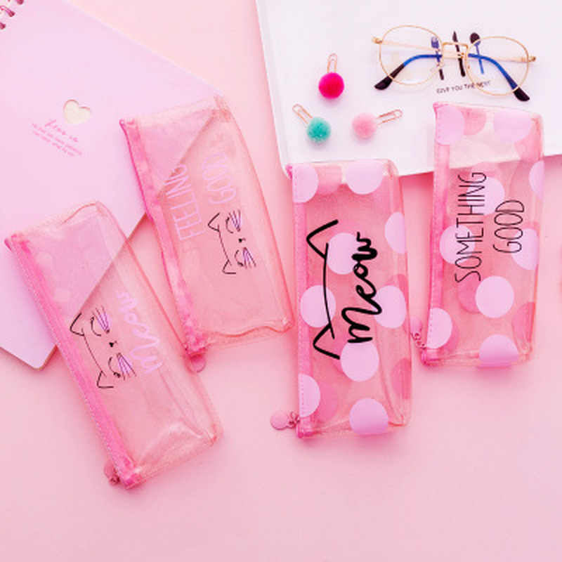 1 Pcs Kawaii Pencil Case Dot Cat Plastic Gift Estuches School Pencil Box Pencilcase Pencil Bag School Supplies Stationery