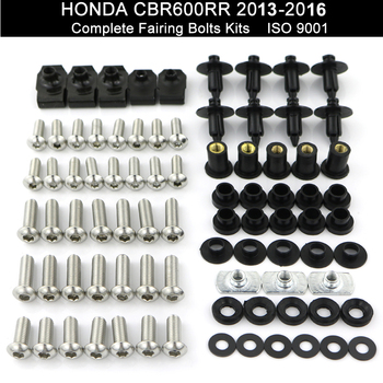 For Honda CBR600RR CBR 600RR 2013 2014 2015 2016 Complete Full Fairing Bolts Kit Screws Nuts Fairing Clips Stainless Steel motorcycle fairing kit for honda cbr600rr f5 2013 2017 injection abs plastic fairings cbr 600rr 13 17 gloss wihte bodyworks