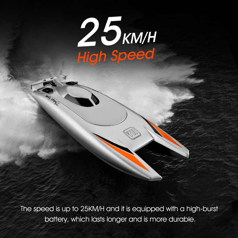 2.4G RC łodzie 25 KM/H szybka łódź wyścigowa 2 kanały podwójny silnik zdalnego sterowania łodzie dla dzieci dorosłych wyścigi łódź srebrny czarny
