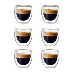 Glass Espresso-Cup Latte Coffee Double-Wall Cup-Set Tea-Drinking-Cup Insulated for Set-Of-2/6-80ml