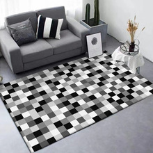 Black white gray Geometric small square pattern living room floor mat bedroom plush rug bathroom non-slip door customize