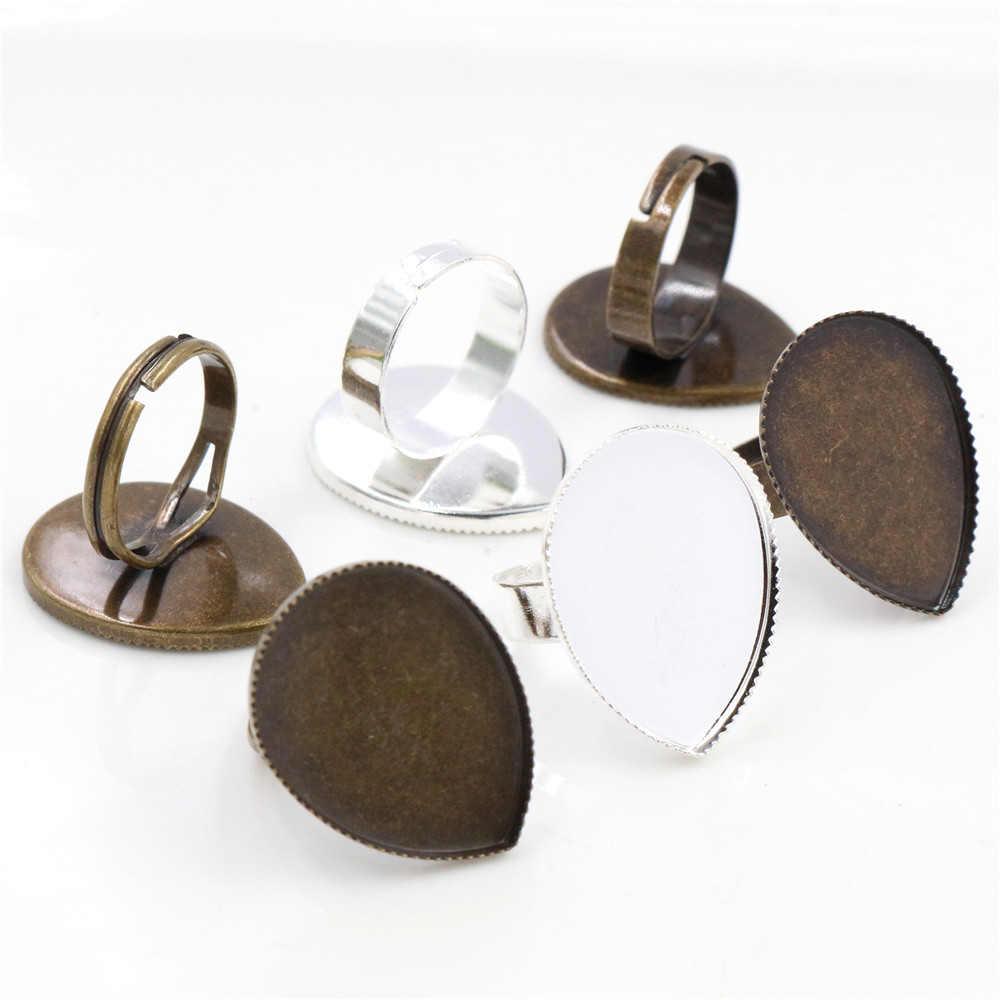 18x25mm 5pcs Light Silver Plated And Bronze Plated Brass Drop Adjustable Ring Settings Blank/Base,Fit 18x25mm Glass Cabochons